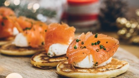 Blinis with Robiola with Truffle and Smoked Salmon
